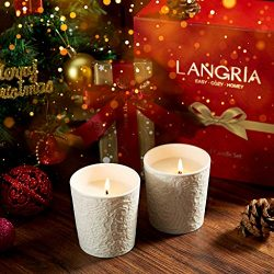 LANGRIA Jar Scented Candles Set, 5.6 Oz Lavender Pure Soy Wax Candle, Lace Textured Ceramic Cup, ...
