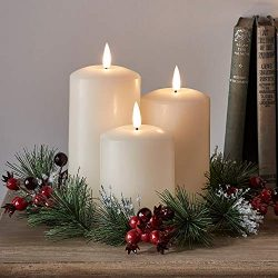 Lights4fun, Inc. Set of 3 TruGlow Battery Operated Flameless LED Ivory Wax Pillar Candles with C ...
