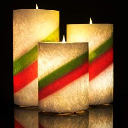 Amagic Striped Wax Flameless Candles (H4 5″ 6″ x D3) -Flickering Color Changing LED  ...