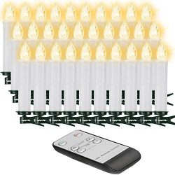 30Pcs Christmas LED Taper Candles with Remote Control, Flickering Flame LED Candles for Christma ...