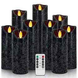 Set of 9 Flameless Flickering Candles,Water Ripple Battery Operated Real Wax Candles with 10 Key ...