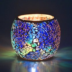 Scented Candle Holder Mosaic Glass Tea Light Holder,Handmade Romantic Glass Tealight Candle Hold ...