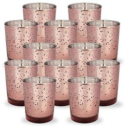 Just Artifacts Mercury Glass Votive Candle Holders 2.75-Inch Speckled Marsala (Set of 12) – ...
