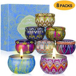 Vanrener Scented Candles Gift Sets, Natural Soy Wax 2.5 Oz Unit Portable Travel Tin Perfect for  ...