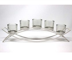Seraphic 5-Cup Arch Iron Centerpiece Candle Holder, White