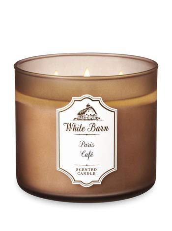 Bath & Body Works Paris Cafe White Barn Glass Scented 3 Wick Candle with Lid – Single