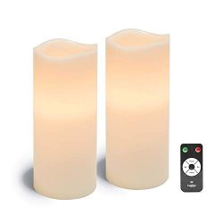 Large Flameless Pillar Candles – White Wax 4 x 10 Inch Candle Set, 2 Pack, Melted Edge, Wa ...