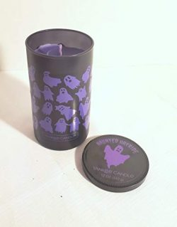 Yankee Candle New Halloween Haunted Hayride Medium Perfect Pillar Candle Purple Ghosts Design Li ...