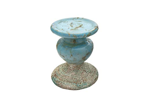 Creative Co-op Small Distressed Blue Terracotta Pillar Candle Holder