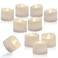 Homemory Set of 24 Timed Tealight Candles, Battery Operated Tea Candles, Flameless Flickering El ...