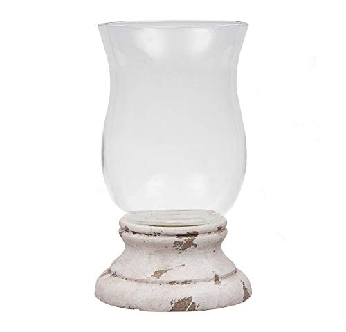 Large Glass Hurricane Candle Holder with Antique White Cement Base | Rustic Home Decor Accent fo ...
