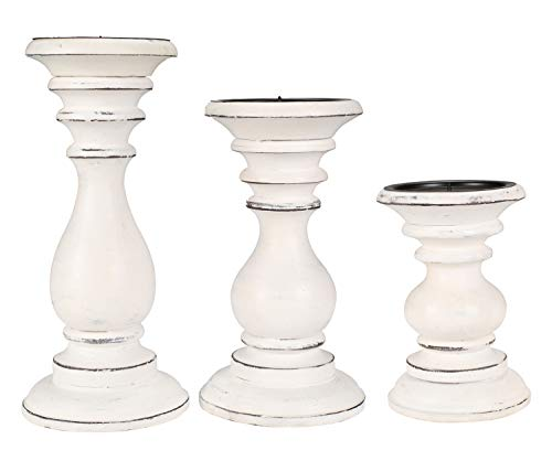 Set of 3 Wooden Pillar Candle Holders, Ideal for LED and Pillar Candles, Gifts for Wedding, Part ...