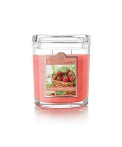 Colonial Candle 8 Oz Scented Oval Jar Candle, Fresh Strawberry Rhubarb