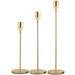 SUJUN Gold Candle Holders Set of 3 for Taper Candles, Decorative Candlestick Holder for Wedding, ...