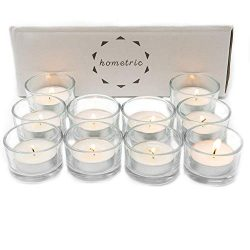Hometric Tealight Candle Holders Clear Glass 24 Count Bulk – Perfect Holder for Centerpiec ...