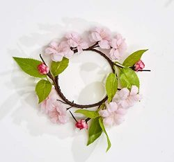 Worth Imports 3.5″ Flower Set of 4 Candle Ring, Pink,Green