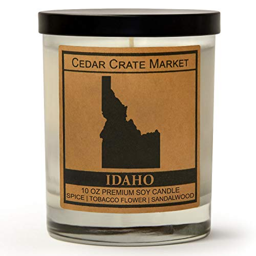 Idaho Kraft Label Scented Soy Candle, Spice, Tobacco Flower, Sandalwood, 10 Oz. Glass Jar Candle ...