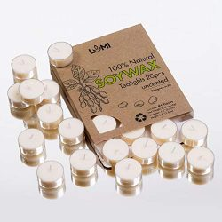 LUMI 100% Soy Tealight Candles – 20PC Organic Soy Candles (Clear Cup) – Fill Your Ho ...