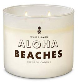 White Barn Aloha Beaches Scented Three Wick Candle for 2019 (coconut, mahogany woods, and englis ...