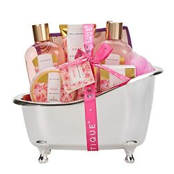 spa luxetique Spa Gift Baskets for Women, Rose Gift Baskets for Women, Luxurious 8pc Bath Set, H ...