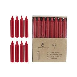 Mega Candles 48 pcs Unscented Red Straight Taper Candle, Hand Poured Wax Candles 4 Inch x 7/8 In ...