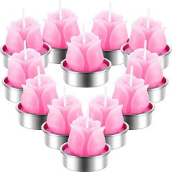 12 Pieces Valentine Pink Rose Tealight Candles Handmade Delicate Rose Flower Candles for Valenti ...
