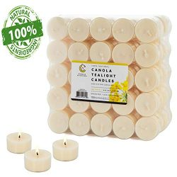 100 Natural Tea Light Candles Ivory Pure Canola Wax Paraffin Free 5 Hour Eco-Friendly Unscented  ...
