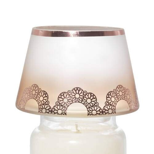 Yankee Candle New Romantic Lace Copper Peach Ombre Jar Shade Candle Topper