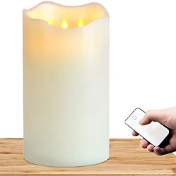 TELOSMA 3 Wick Flameless Large Candle with Remote Control, 3D Top in Ivory – 6 x 12 inch