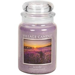 Village Candle Lavender 26 oz Glass Jar Scented Candle, Large