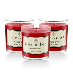 Cocod'or Premium Jar Scented Candles 3 Pack, Black Cherry, 30-40 Hour Extended Burn Time,  ...