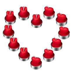 SoFire 12 Pieces Heart and Rose Shape Tealight Candles Valentine's Day Candles for Party H ...