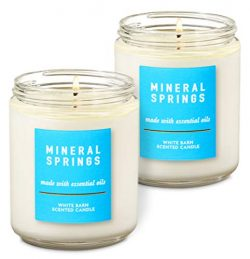 Bath & Body Works White Barn Mineral Springs Single Wick Scented Candle with Essential Oils  ...