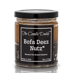 Bofa Deez Nutz- Funny- Banana Nut Bread n Hazelnut Vanilla- Scented Candle- Double Pour- 6 Ounce ...