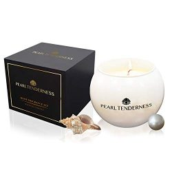 Scented Candles – White Pearl All Natural Soy Candles Strong Fragrance of English pear Can ...