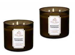 Bath & Body Works White Barn 3-Wick Candle in Mahogany Teakwood (Pack of 2)