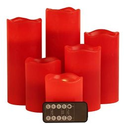 Red Flameless LED Votive Candle Lights,Set of 6 (D3 x H 3″/4″/5″/6″/7 ...