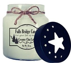 Falls Bridge Candles Creamy Chai Latte Scented Jar Candle, 16-Ounce, w/Star Lid