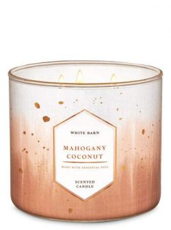 White Barn Bath and Body Works Mahogany Coconut 3 Wick Candle 14.5 Ounce Winter 2019