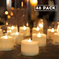 Homemory 48-Pack Battery Tea Lights Bulk, Flameless LED Tea Lights, with Soft Flickering, Long L ...