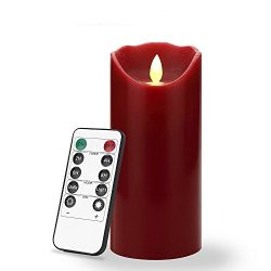 7 inch Flameless LED Candle – Real Wax & Real Flickering Candle Motion – with Re ...
