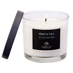 CHLOEFU LAN White Tea Scented Soy Jar Candle Highly Scented & Long Lasting & Slow Burnin ...