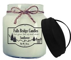 Falls Bridge Candles Sunflower Scented Jar Candle, 16-Ounce, w/Handle Lid