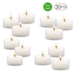 Soy Tealight Candles, Unscented and Handmade – 30 Count, White – Tea Lite Candle Set ...