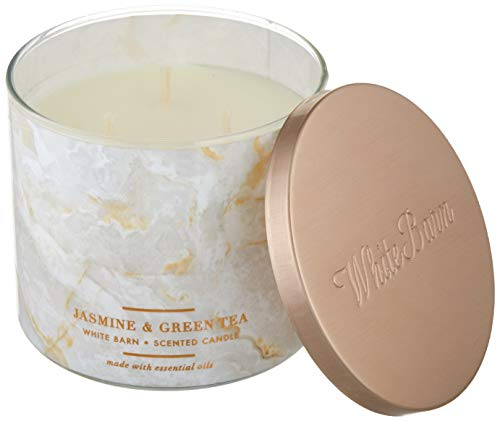 White Barn Bath and Body Works 3 Wick Scented Candle Jasmine and Green Tea 14.5 Ounce