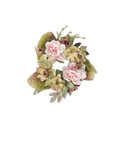 Sullivans Faux Peony Blossoms Candle Ring/Mini Wreath