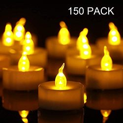 Tea Lights, 150 Pack Flameless LED Tea Lights Candles Flickering Warm Yellow 100+ Hours Battery- ...