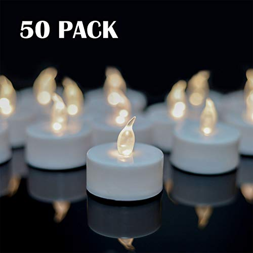 YIWER Tea Lights,LED Tea Light Candles 100 Hours Pack of Warm White Light 50pack Realistic Flick ...
