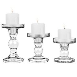 Lewondr Glass Candle Holders, 3 Pieces Crystal Clear Candlesticks with Elegant Design for Pillar ...