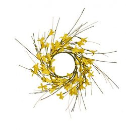 Worth Imports 3.25″ FORSYTHIA Set of 2 Candle Ring, Yellow,Brown